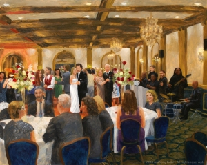 Live wedding painting by artist Anthony Galati